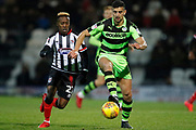 Forest Green Rovers Omar Bugiel(11) goes past Siriki Dembélé of Grimsby Town  during the EFL Sky Bet League 2 match between Grimsby Town FC and Forest Green Rovers at Blundell Park, Grimsby, United Kingdom on 9 December 2017. Photo by Paul Thompson.