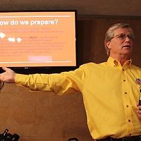 Jim Melrose of North Alabama Fire Equipment Company educates LEPC members about industrial fire safety.