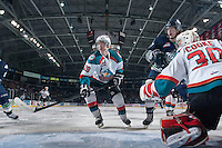 KELOWNA, CANADA - APRIL 5: Joe Gatenby #28 of the Kelowna Rockets skates against the Seattle Thunderbirds on April 5, 2014 during Game 2 of the second round of WHL Playoffs at Prospera Place in Kelowna, British Columbia, Canada.   (Photo by Marissa Baecker/Getty Images)  *** Local Caption *** Joe Gatenby;