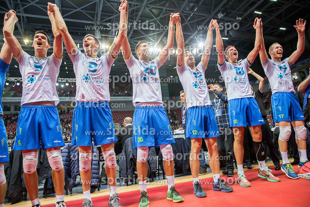 Alen Sket #5 of Slovenia, Dejan Vincic #9 of Slovenia, Uros Pavlovic #20 of Slovenia, Jan Klobucar #12 of Slovenia, Jan Kozamernik #10 of Slovenia and Tine Urnaut #17 of Slovenia celebrate after winning during volleyball match between National teams of Slovenia and Italy in 1st Semifinal of 2015 CEV Volleyball European Championship - Men, on October 17, 2015 in Arena Armeec, Sofia, Bulgaria. Photo by Vid Ponikvar / Sportida