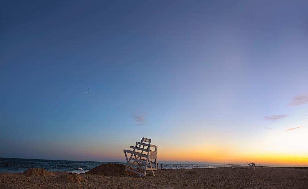 Summer In The Hamptons Ponquogue Beach Hampton Bays New York At Sunset With Lifeguard