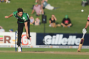 Central Stags Ben Wheeler bowls during the Burger King Super Smash T20 cricket match between the Central Stags and the Northern Knights, McLean Park, Napier, Friday, January 25, 2019. Copyright photo: Kerry Marshall / www.photosport.nz