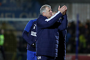 AFC Wimbledon manager Glyn Hodges clapping whilst walking off the pitch during the EFL Sky Bet League 1 match between AFC Wimbledon and Doncaster Rovers at the Cherry Red Records Stadium, Kingston, England on 14 December 2019.
