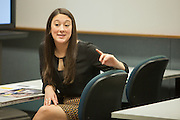 Ohio University Alumnus Tori Lin of EY talks to students during the program A Day in the Life of an MIS Professional in The College of Business Thrusday April 3, 2014.  Photo by Ohio University / Jonathan Adams