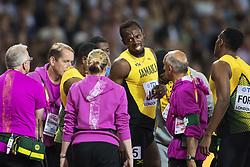 August 12, 2017 - London, STORBRITANNIEN - 170812 Jamaicas Usain Bolt efter att ha skadat sig i finalen pÅ' stafetten 4x100 meter under dag nio av friidrotts-VM den 12 augusti 2017 i London  (Credit Image: © Joel Marklund/Bildbyran via ZUMA Wire)