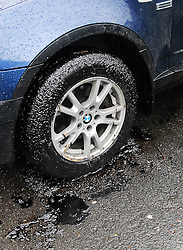 Cars & tyres  that made met with the Oil Leak on the New Road Westport this morning...Pic Conor McKeown
