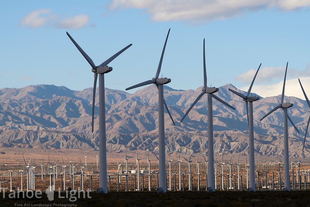 The San Gorgonio Wind Park in the desert of Palm Springs, California, USA, is the oldest wind farm in the United States with over 2700 wind turbines.