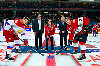 KAMLOOPS, CANADA - NOVEMBER 5:  Pavel Shen #16 of Team Russia and Josh Brook #2 of Team WHL face off at centre ice with Darryl Sydor, and Ron Robison on November 5, 2018 at Sandman Centre in Kamloops, British Columbia, Canada.  (Photo by Marissa Baecker/Shoot the Breeze)