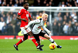 Will Hughes of Derby County goes past Mustapha Carayol of Nottingham Forest - Mandatory by-line: Robbie Stephenson/JMP - 11/12/2016 - FOOTBALL - iPro Stadium - Derby, England - Derby County v Nottingham Forest - Sky Bet Championship