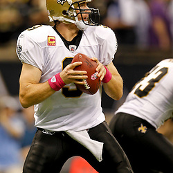 October 23, 2011; New Orleans, LA, USA; New Orleans Saints quarterback Drew Brees (9) against the Indianapolis Colts during the first half of a game at the Mercedes-Benz Superdome. Mandatory Credit: Derick E. Hingle-US PRESSWIRE / © Derick E. Hingle 2011