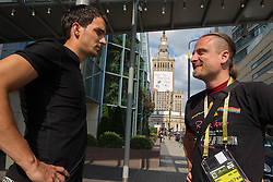 Branko Ilic, Slovenian football player and journalist Rok Plestenjak at Hotel Holiday Inn in Centrum of Warsaw prior to the UEFA EURO 2012 group A match between Poland and Russia at The National Stadium on June 12, 2012 in Warsaw, Poland.  (Photo by Vid Ponikvar / Sportida.com)