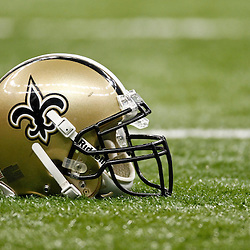 January 7, 2012; New Orleans, LA, USA; A detailed view of a New Orleans Saints helmet on the field before the 2011 NFC wild card playoff game against the Detroit Lions at the Mercedes-Benz Superdome. Mandatory Credit: Derick E. Hingle-US PRESSWIRE
