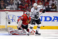 28 May 2014 Chicago Blackhawks Goalie Corey Crawford 50 Battles with Los Angeles Kings Center Tyler Toffoli 73 in Action during Game 5 of The Stanley Cup Playoffs Western Conference Final between The Los Angeles Kings and The Chicago Blackhawks AT The United Center in Chicago Il NHL Ice hockey men USA May 28 Stanley Cup Playoffs Western Conference Final Kings AT Blackhawks Game 5 <br />