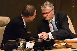 September 13, 2016 - New York, NY, United States - President of the 70th UN General Assembly Mogens Lykketoft (right) and Secretary-General Ban Ki-moon (left) shake hands at the conclusion of  the closing plenary session. At back-to-back plenary sessions, the United Nations marked the close of the General Assembly's 70th session and the opening of its 71st, with the swearing in of Peter Thomson of Fiji as incoming President of the General Assembly. (Credit Image: © Albin Lohr-Jones/Pacific Press via ZUMA Wire)