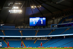 MANCHESTER, ENGLAND - Friday, August 24, 2018: The scoreboard records the 1-1 draw during the Under-23 FA Premier League 2 Division 1 match between Manchester City FC and Liverpool FC at the City of Manchester Stadium. (Pic by David Rawcliffe/Propaganda)