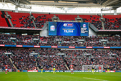 The official attendance of 72,315 is displayed on the scoreboard - Photo mandatory by-line: Rogan Thomson/JMP - 07966 386802 - 22/03/2015 - SPORT - FOOTBALL - London, England - Wembley Stadium - Bristol City v Walsall - Johnstone's Paint Trophy Final.