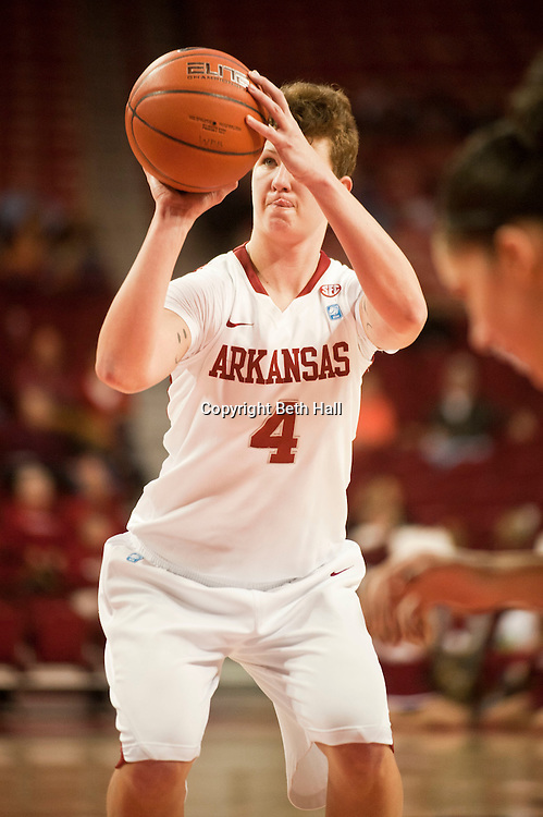 Jan 29, 2012; Fayetteville, AR, USA; Arkansas Razorbacks center Sarah Watkins (4) looks to take  a free throw shot during a game against the Florida Gators at Bud Walton Arena. Arkansas defeated Florida 73-72 in the second overtime. Mandatory Credit: Beth Hall-US PRESSWIRE