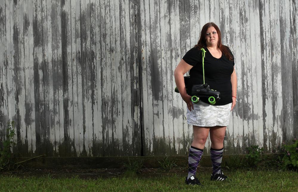 Katelyn Cummings aka KC CrusHer. Cornfed Derby Dames.       .(Chris Bergin/The Star Press)