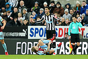 Mikel Merino (#23) of Newcastle United reacts to being called for a foul during the Premier League match between Newcastle United and Burnley at St. James's Park, Newcastle, England on 31 January 2018. Photo by Craig Doyle.