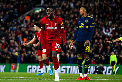Divock Origi of Liverpool celebrates scoring a goal to make it 4-4 - Mandatory by-line: Robbie Stephenson/JMP - 30/10/2019 - FOOTBALL - Anfield - Liverpool, England - Liverpool v Arsenal - Carabao Cup