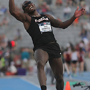 CRADDOCK - 13USA, Des Moines, Ia.  - Omar Craddock was overjoyed with his triple jump win. Photo by David Peterson