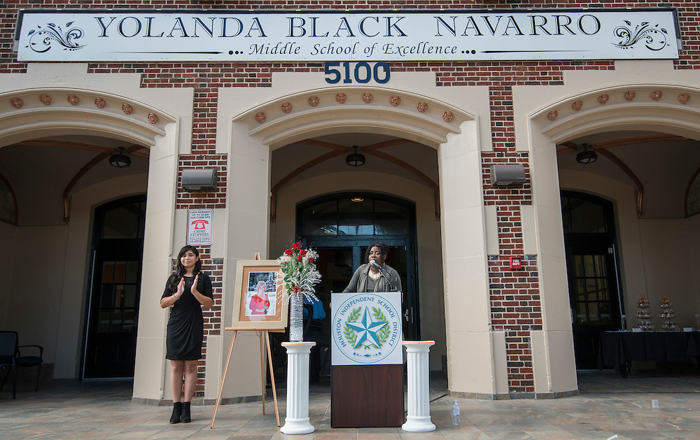 Kelly Vaughn-Pichon comments during a ceremony to rename Jackson Middle School to Navarro Middle School in honor of Yolanda Black Navarro, October 5, 2016.