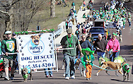 Members of Harley's Haven Dog Rescue march in the 2nd annual Pennridge St Patrick's Day Parade and Celtic Festival Saturday March 12, 2016 in Sellersville, Pennsylvania. (Photo by William Thomas Cain)