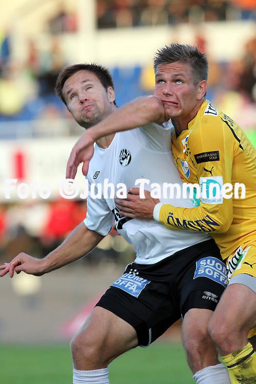 20.09.2010, Tehtaan kentt?, Valkeakoski..Veikkausliiga 2010, FC Haka - IFK Mariehamn..Toni Lehtinen (Haka) v Sebastian Strandvall (IFK Mhamn)..©Juha Tamminen.