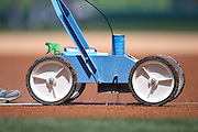 ANAHEIM, CA - MAY 4:  Closeup photo of the machine that paints the foul lines on the infield dirt before the Los Angeles Angels of Anaheim game against the Texas Rangers at Angel Stadium on Sunday, May 4, 2014 in Anaheim, California. The Rangers won the game 14-3. (Photo by Paul Spinelli/MLB Photos via Getty Images)