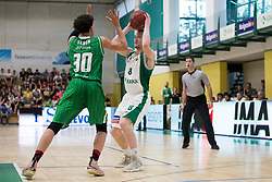 Yusuf Sanon of KK Petrol Olimpija Ljubljana and Domen Bratoz of KK Krka during basketball match between KK Krka Novo mesto and  KK Petrol Olimpija in 2nd Final game of Liga Nova KBM za prvaka 2017/18, on May 22, 2018 in Sports hall Leona Stuklja, Novo mesto, Slovenia. Photo by Urban Urbanc / Sportida