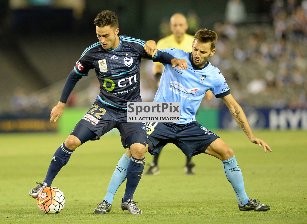 Jesse Makarounas of Melbourne Victory, Milos Ninkovic of Sydney FC, Hyundai A-League (Australia Day) - January 26th 2016 - RD16 - Melbourne Victory FC v Sydney FC at Etihad Stadium, Docklands, Melbourne, Australia in a 1:0 win to Victory - © Mark Avellino | SportPix.org.uk