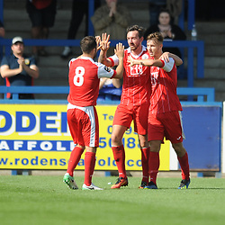 TELFORD COPYRIGHT MIKE SHERIDAN 1/9/2018 - GOAL. Former Telford and Shrewsbury striker John McAtee of Ashton is congratulated by Liam Tomsett and Craig Hobson after scoring to make it 1-0 during the Vanarama Conference North fixture between AFC Telford United and Ashton United FC.