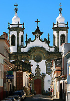 view of a chuch of the  typical town of sao joao del rey in minas gerais state brazil