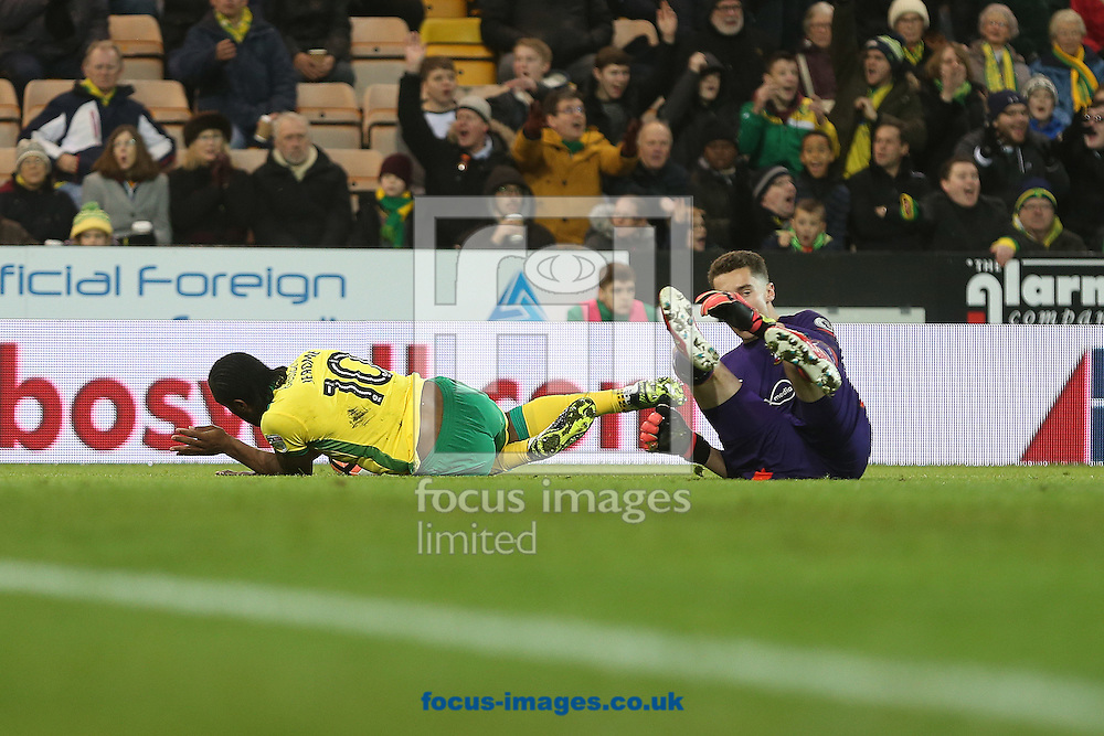 Cameron Jerome of Norwich is fouled by Harry Lewis of Southampton and a penalty is awarded by Referee Christopher Kavanagh during the third round of the FA Cup at Carrow Road, Norwich<br /> Picture by Paul Chesterton/Focus Images Ltd +44 7904 640267<br /> 07/01/2017