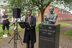 © Licensed to London News Pictures. 28/05/2018. Bristol, UK. KWAME KWEI-ARMAH, Artistic Director of the Young Vic and former actor on Casualty, plays the part of Frederick Douglass at a commemorative event by the statue of poet and actor Alfred Fagon in St Pauls, Bristol. Frederick Douglass (Feb 1818– Feb 20 1895) who was an African-American social reformer, abolitionist, orator, writer, and statesman. After escaping from slavery in Maryland, he became a national leader of the abolitionist movement in Massachusetts and New York, gaining note for his oratory and incisive antislavery writings. In his time, he was described by abolitionists as a living counter-example to slaveholders' arguments that slaves lacked the intellectual capacity to function as independent American citizens. Northerners at the time found it hard to believe that such a great orator had once been a slave. Photo credit: Simon Chapman/LNP