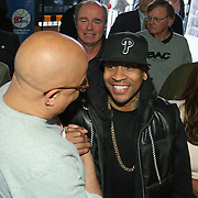 Philadelphia Sixers legend Allen Iverson, RIGHT, greets Delaware 87ers Head Coach Rod Baker, LEFT,  during a Delaware 87ers season ticket holders meet & greet Saturday, Apr. 05, 2014 at Buffalo wild wings in Wilmington, DEL.