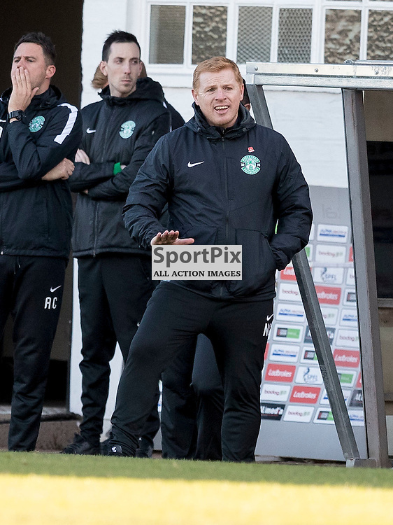 Ayr v Hibernian   SPFL season 2016-2017  <br /> <br /> Neil Lennon (Hibernian Manager) during the Ladbrokes Championship match between Ayr &amp; Hibernian at Somerset Park Stadium on 5 November 2016<br /> <br /> Picture: Alan Rennie