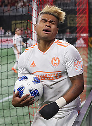 May 9, 2018 - Atlanta, GA, USA - Atlanta United forward Josef Martinez reacts to narrowly missing a goal against Sporting Kansas City during the first half on Wednesday, May 9, 2018, in Atlanta. (Credit Image: © Curtis Compton/TNS via ZUMA Wire)