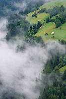 IFTE-NB-007625; Niall Benvie; Cut hay meadows near Fliess; Austria; Europe; Austria; Tirol; clouds mist hut building hay barn fields; vertical; high above steep; green; farmland grassland meadow; 2008; July; summer; mist; agriculture; Wild Wonders of Europe Naturpark Kaunergrat