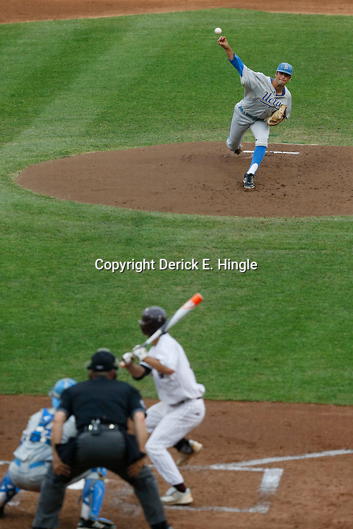 Jun 24, 2013; Omaha, NE, USA; UCLA Bruins starting pitcher Adam Plutko (9) delivers a pitch during the first inning in game 1 of the College World Series finals against the Mississippi State Bulldogs at TD Ameritrade Park. Mandatory Credit: Derick E. Hingle-USA TODAY Sports
