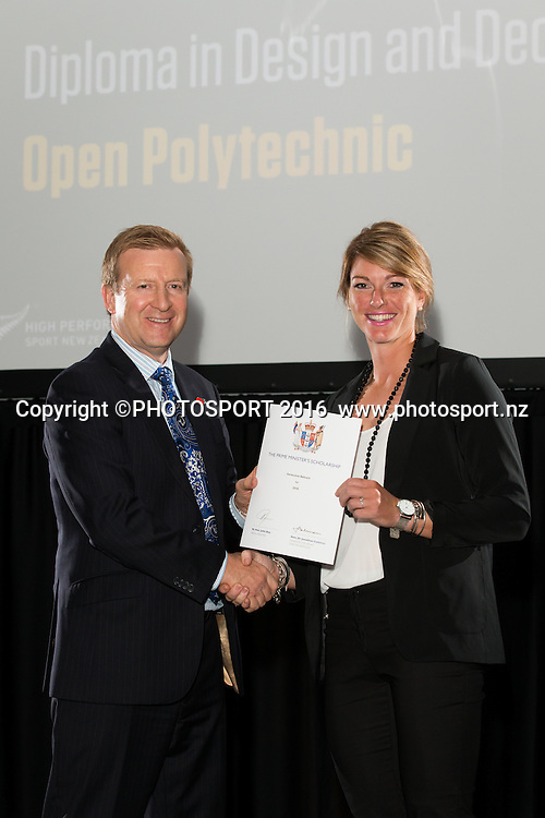 Hon. Jonathan Coleman presents certificate to Rowing Genevieve Behrent at the High Performance Sport NZ Waikato ceremony for the Prime Minister's Scholarship Awards, at Sir Don Rowlands Centre, Lake Karapiro, Cambridge, New Zealand, 20 April 2016. Copyright Photo: Stephen Barker / www.photosport.nz