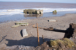Remains of the Godwin Coast Artillery Battery; wartime defence at Kilnsea; East Yorkshire; England,