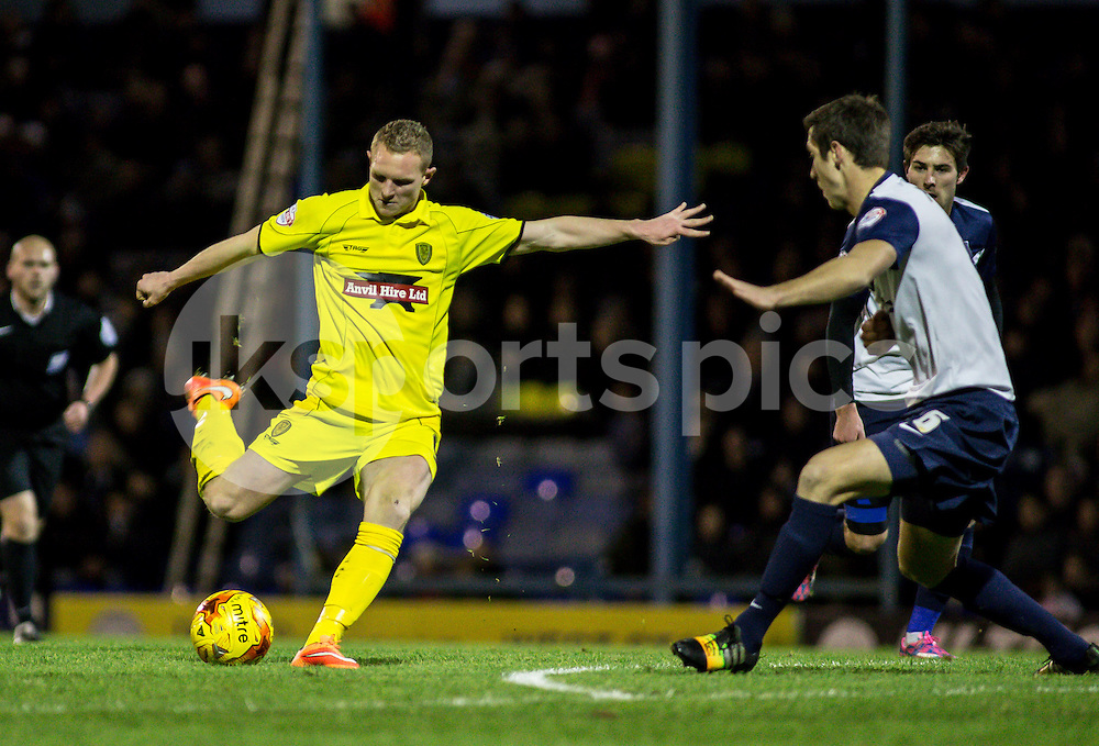 Stuart Beavon of Burton Albion shoots during the Sky Bet League 2 match between Southend United and Burton Albion at Roots Hall, Southend, England on 19 December 2014. Photo by Liam McAvoy.