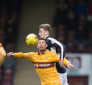 Dundee's Kevin Holt and Motherwell's Scott McDonald - Motherwell v Dundee in the Ladbrokes Scottish Premiership at Fir Park, Motherwell.Photo: David Young<br /> <br />  - © David Young - www.davidyoungphoto.co.uk - email: davidyoungphoto@gmail.com