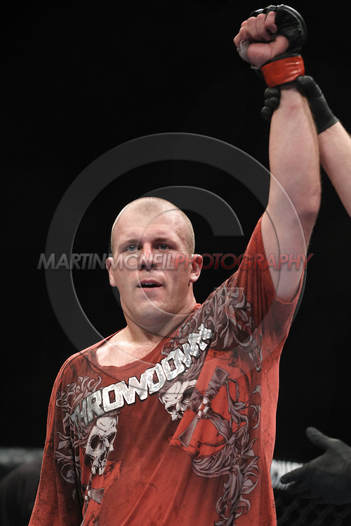 """LONDON, ENGLAND, OCTOBER 2010: Rob Broughton is declared winner of his fight at """"UFC 120: Bisping vs. Akiyama"""" inside the O2 Arena in Greenwich, London"""