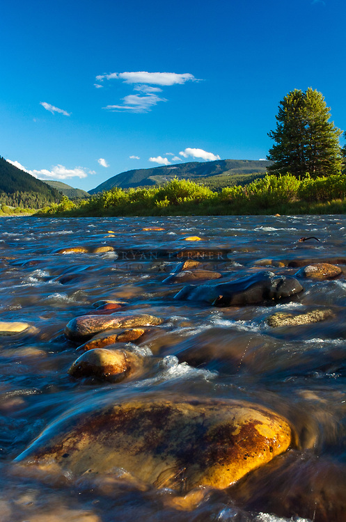 The Gallatin River near Big Sky, Montana in the Summer.