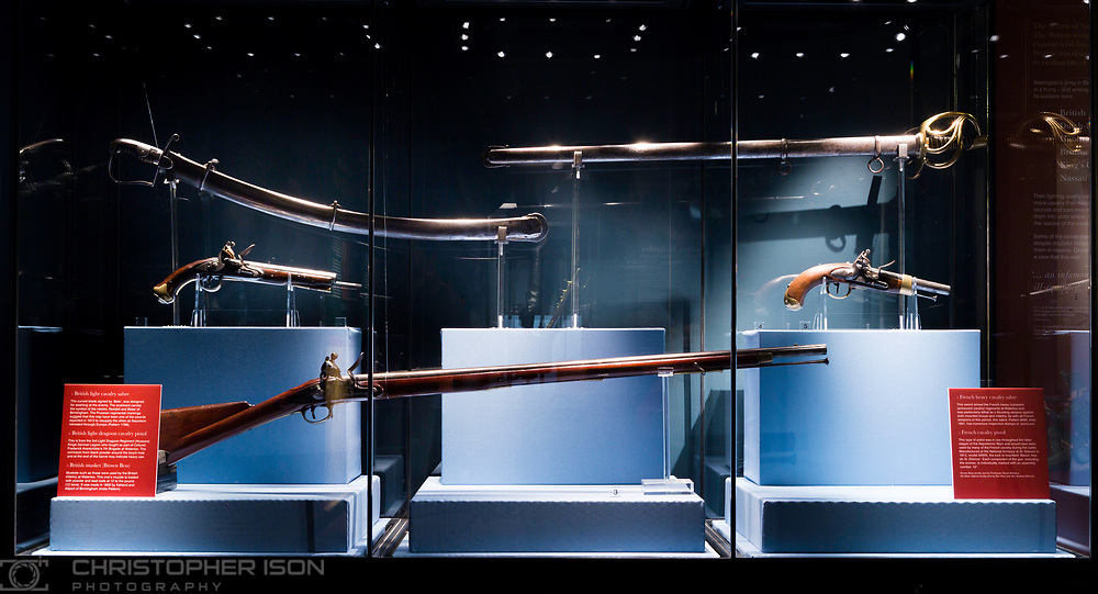 English Heritage's Wellington Arch and Apsley House re-open their doors for the 200th anniversary of the Battle of Waterloo. Picture shows weapons used by both sides at the battle on display at Waterloo 1815 - The Battle for Peace at Wellington Arch (at Hyde Park Corner in London).<br /> Picture date: Thursday April 16, 2015.<br /> Photograph by Christopher Ison for English Heritage &copy;<br /> 07544044177<br /> chris@christopherison.com<br /> www.christopherison.com