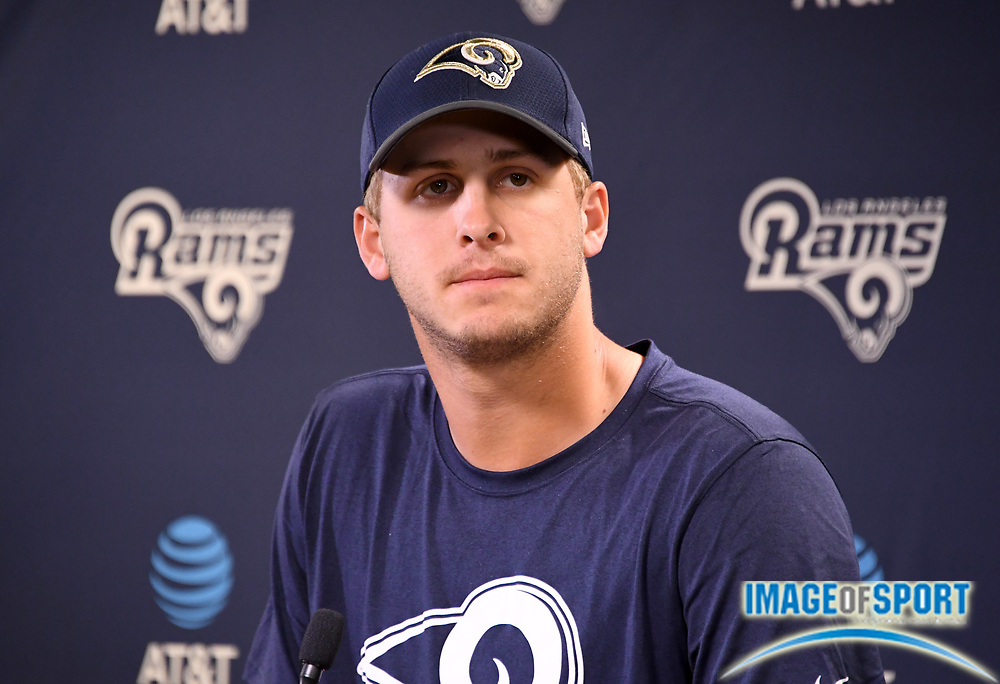 Los Angeles Rams quarterback Jared Goff speaks at press conference at Cal Lutheran.