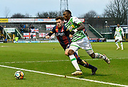 Shay McCartan (14) of Bradford City battles for possession with Nathan Smith (3) of Yeovil Town during the The FA Cup 3rd round match between Yeovil Town and Bradford City at Huish Park, Yeovil, England on 6 January 2018. Photo by Graham Hunt.