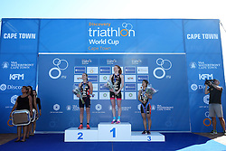 Second Place Jessica Learmonth of Great Britain, First Place Lucy Hall of Great Britain, Third Place Ai Ueda of Japan during the Elite Womens medal ceremony of the Discovery Triathlon World Cup Cape Town leg held at Green Point in Cape Town, South Africa on the 11th February 2017.<br /> <br /> Photo by Shaun Roy/RealTime Images